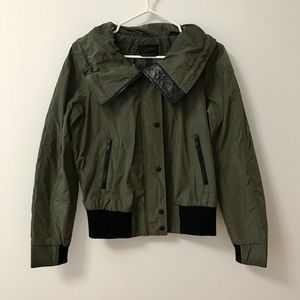 DANIER LEATHER ARMY GREEN BOMBER JACKET